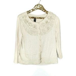 NY&CO Rosette Button Front Cardigan Sweater Top